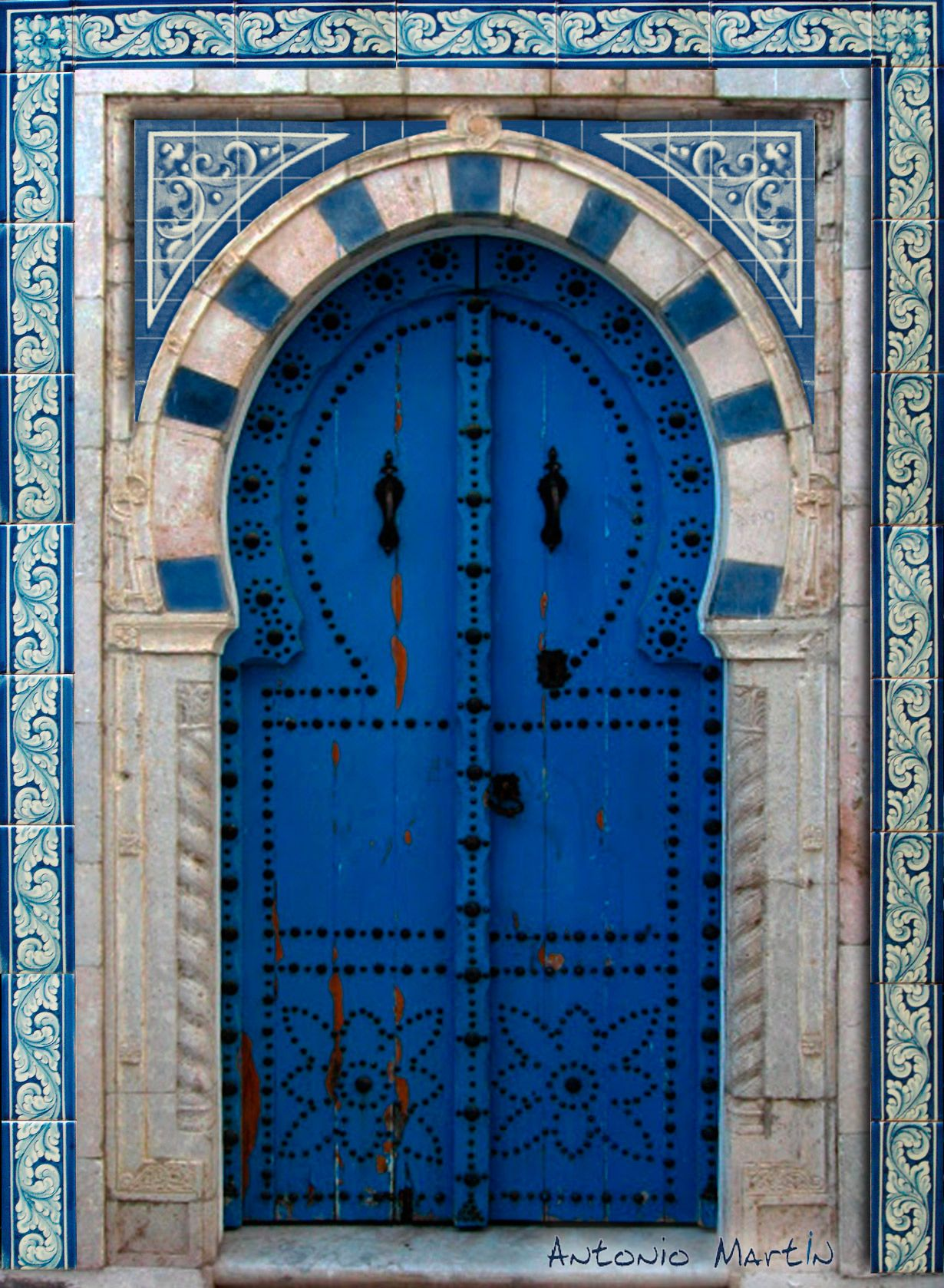 Cer 225 Mica De Talavera Estilo Renacentista Azul En Puerta