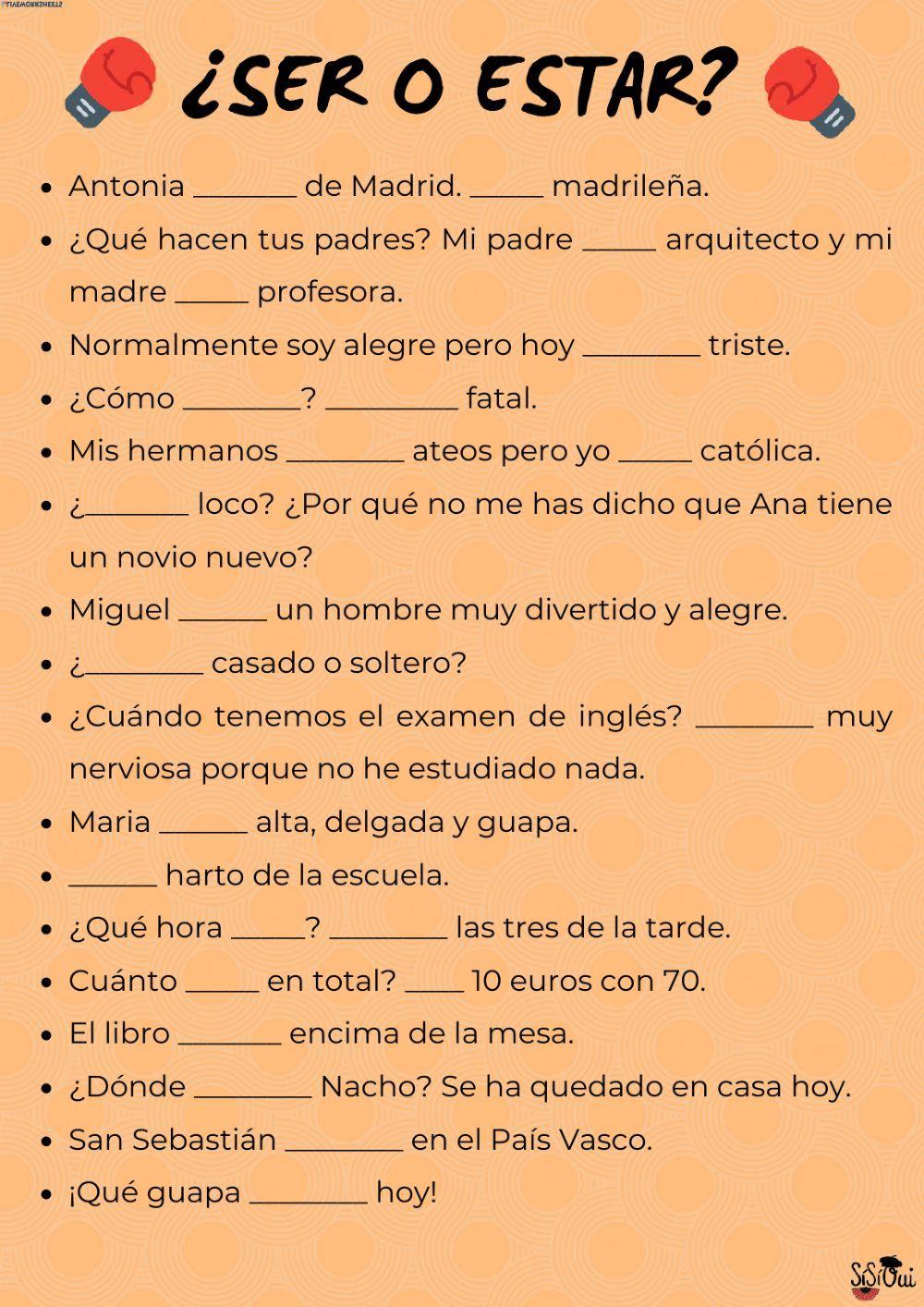 Ser o estar Español como Lengua Extranjera (ELE) worksheet