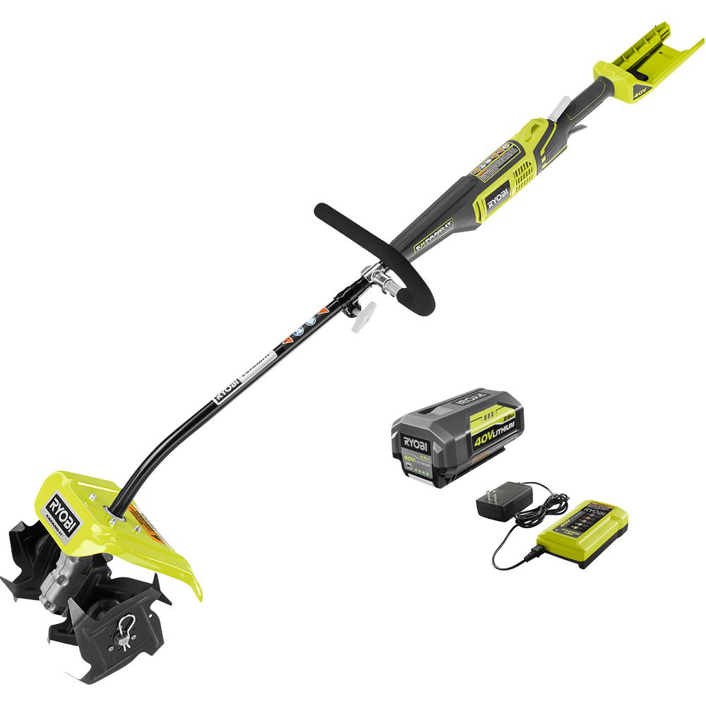 Ryobi 10 In 40 Volt X Lithium Ion Cordless Attachment Capable Cultivator 2 6 Ah Battery And Charger Included Ry40770 The Home Depot Ryobi Charger Cordless Chainsaw