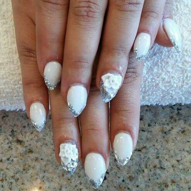 White & silver tip stilleto nails with 3d roses nail designs