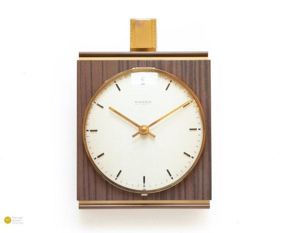 Modernistic Kienzle Wall Clock Mid Century Art Deco 50s 60s Wood