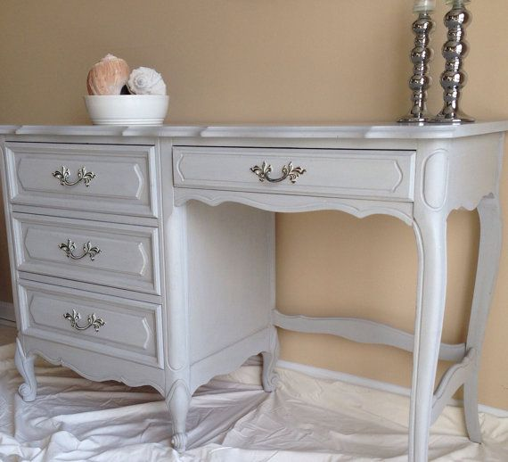 vintage french provincial desk in annie sloan paris grey chalk paint