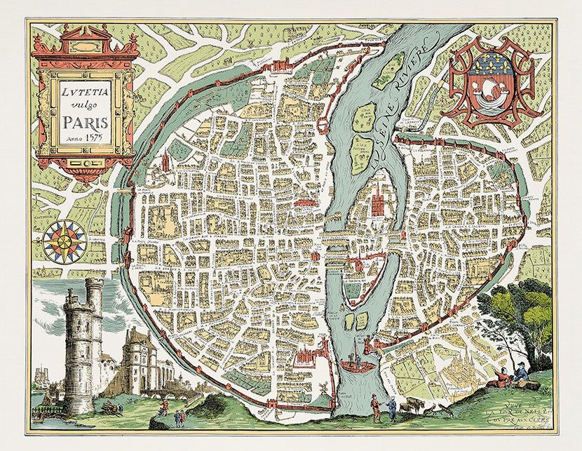 Illustrated map of Paris in 1575 Illustrated