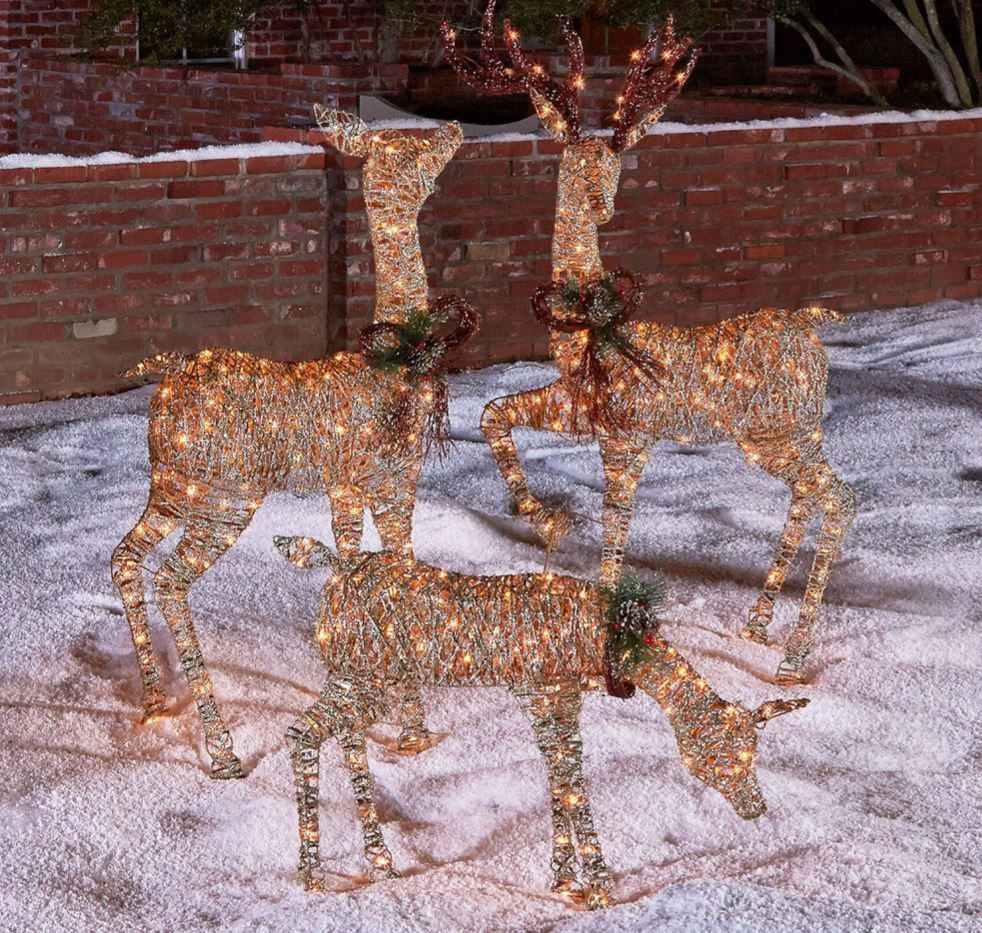Grapevine Deer Lawn Ornaments Christmas Outdoor Yard Decorations 3 Piece Prelit Outdoor Christmas Outdoor Holiday Decor Outdoor Christmas Decorations Yard