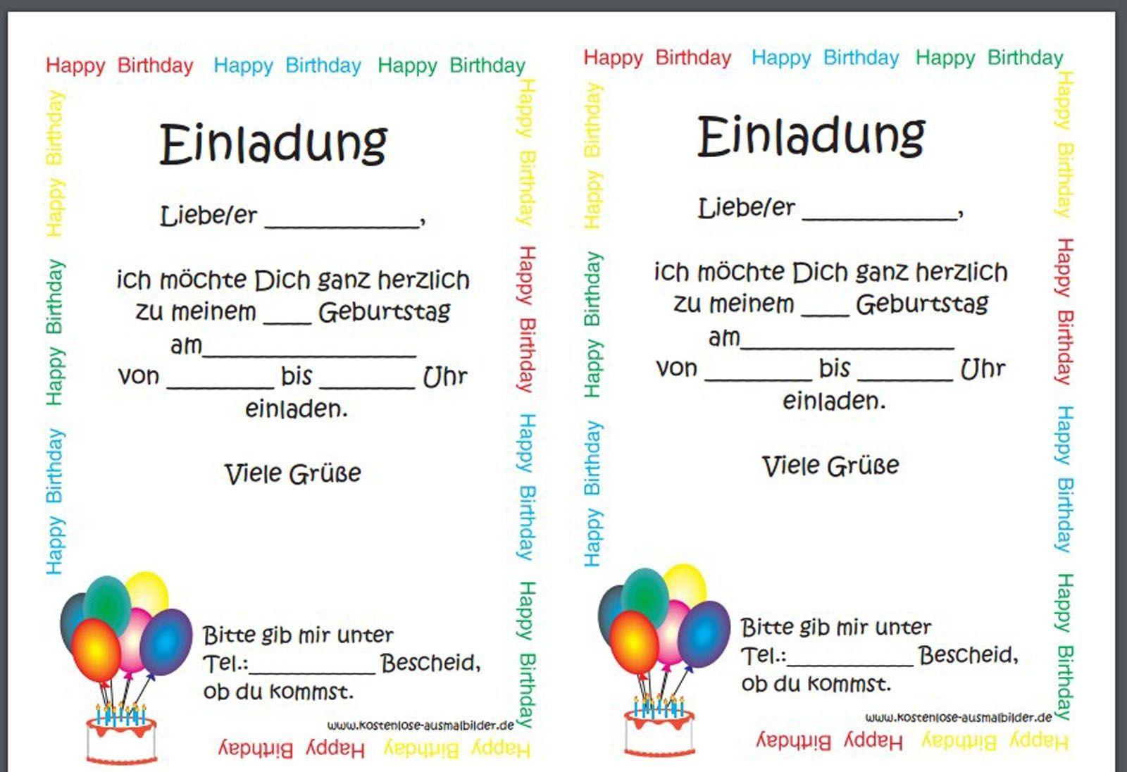 Einladungskarten Kindergeburtstag Vorlage Word Einladungskarten