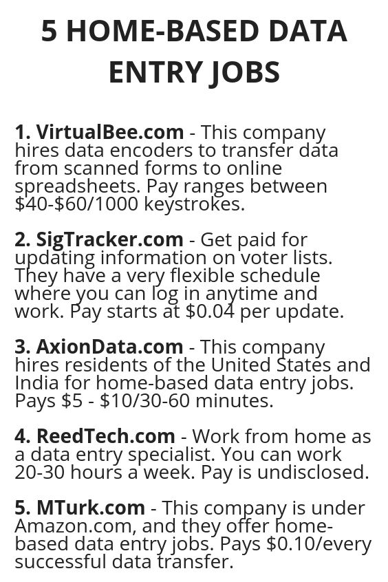 5 Home Based Data Entry Jobs Work From Home Jobs Money From
