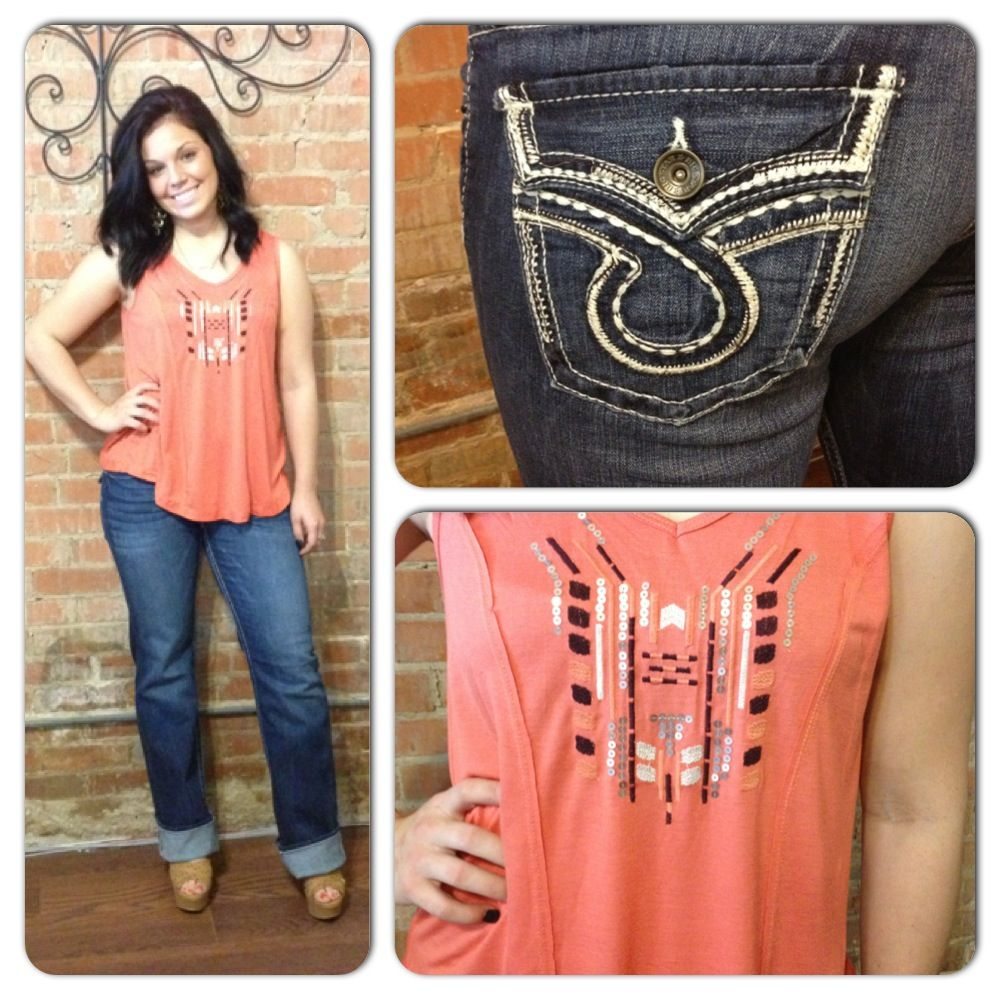 Big Star Remy Jeans and coral tank
