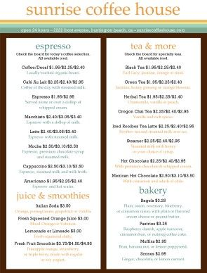 Coffee  Bakery Menu Template Diy  Packaging  Design