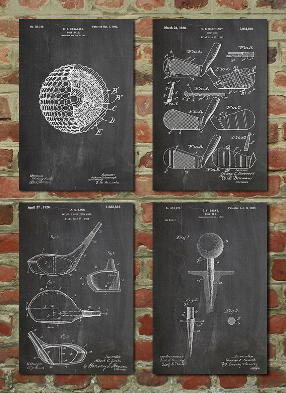 Incroyable Golf Patent Posters Group Of 4 Golf Gifts For Men Golf