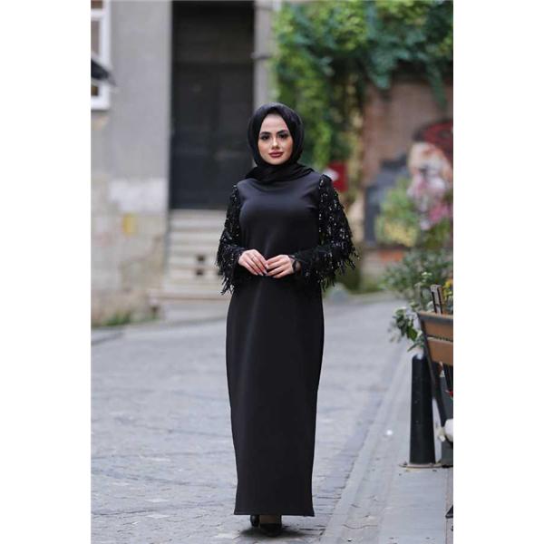 283 Pul Payetli Tesettur Elbise Siyah Elbise Moda Siyah