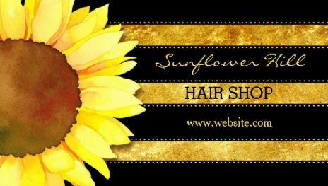 sunflower hair shop business cards httpwwwzazzlecommodern_gold_foil_stripes_sunflower_business_cards 240422764632357180rf238835258815790439tc