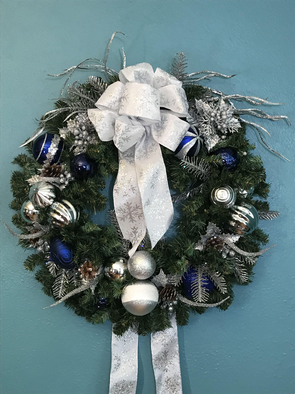 Blue Silver Silk Christmas Door Wreath Silver Navy Blue Winter Evergreen Wreath Blue Front Door Silk Wreaths White Silver Snowflake Ribbon Ribbon On Christmas Tree Christmas Door Wreaths Colorful Christmas Decorations
