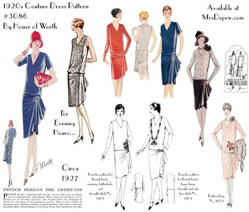 1920s Worth Couture Dress #3086 (1927) vintage flapper sewing ...