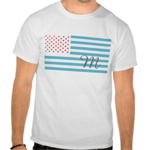 Monogram Stars and Stripes t-shirt  The flag of the United States, the Stars and Stripes. Still red white and blue but the colors have been moved and altered. Just a bit of fun really. This product has a removable, customizable monogram which you can personalize with the letter that suits your needs.    Created By Pollylitical
