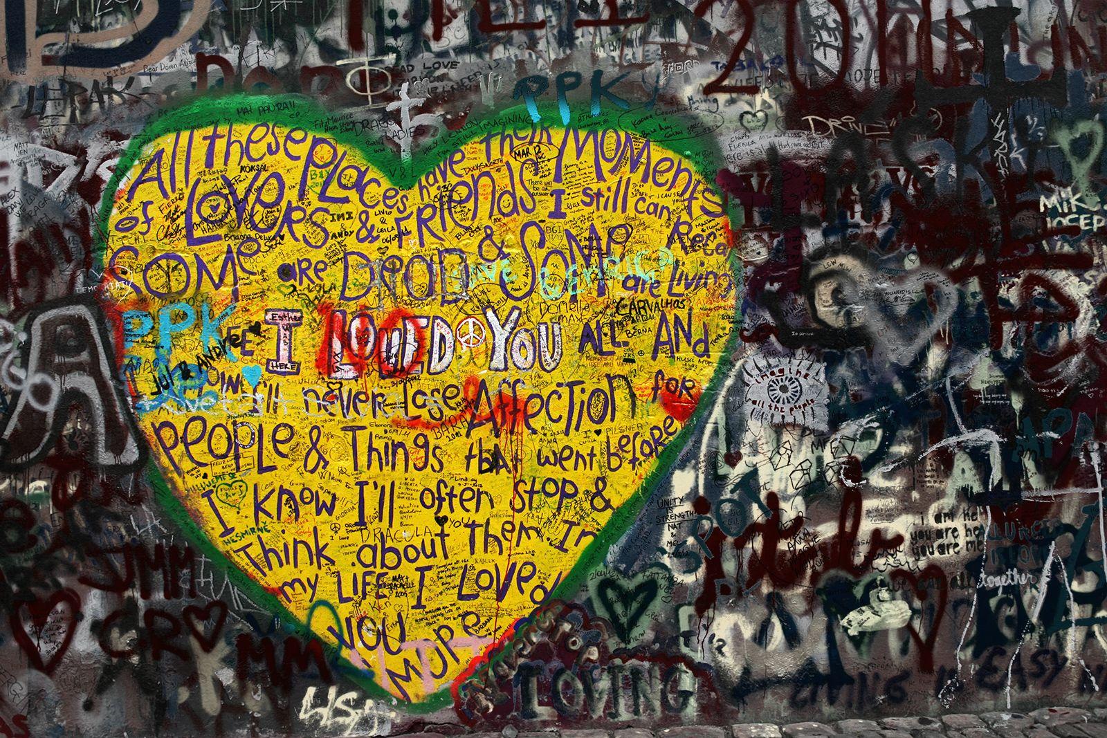 Love Heart - The John Lennon wall in Prague | A Love Story ...