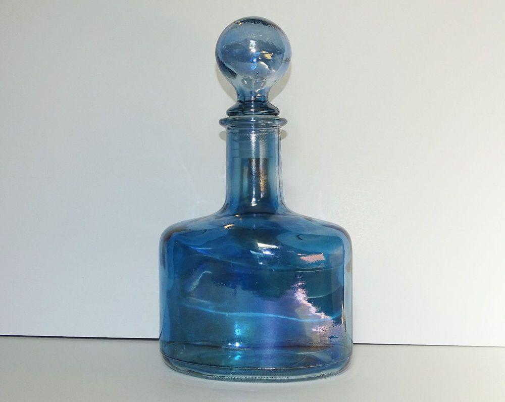 Vintage SVE Italian Decanter Blue Glass Bottle with stopper