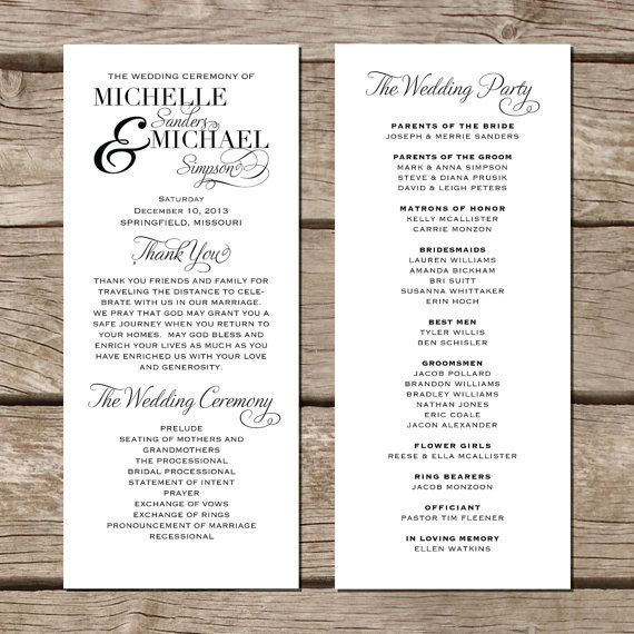 Creative Wedding Programs  Creative Wedding Programs Wedding