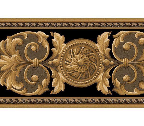 Best Interior Place Medallion Black Gold Wallpaper Border 400 x 300
