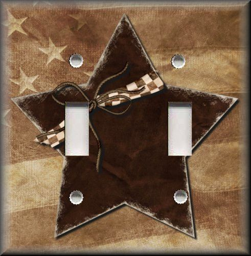 Light Switch Plate Cover - Brown Country Star - Primitive Home Decor & Metal Light Switch Plate Cover - Brown Country Star - Primitive ...