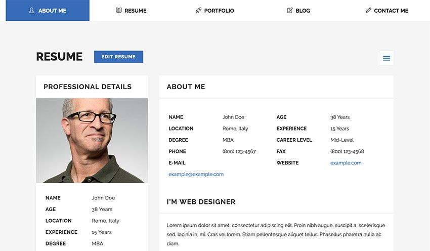 23 Best Html Resume Templates To Make Personal Profile Cv Websites 2019 Personal Resume Resume Templates Best Resume Template