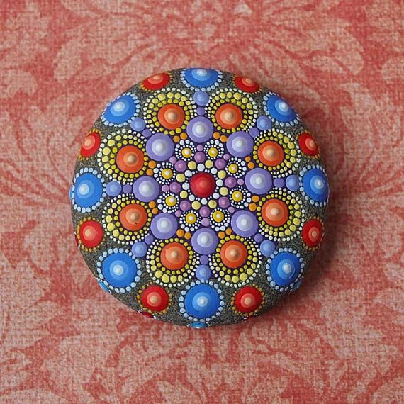 Jewel Drop Mandala Painted Stone  painted by Elspeth McLean