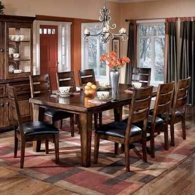 Home Gallery Furniture For Ashley Larchmont Rectangular Extension Dining Room Table Set