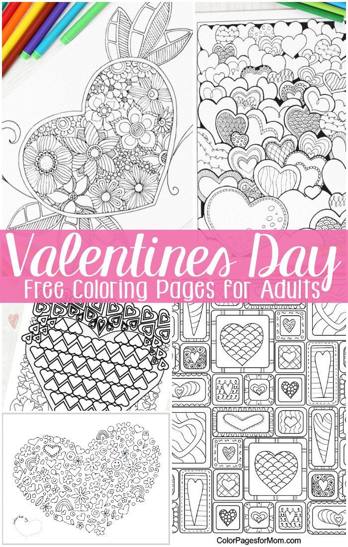 Free Valentines Day Coloring Pages for Adults | Pinterest