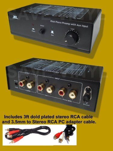 Phono Preamp Pre Amp Amplifier Preamplifier with Aux 2 input and Volume Control