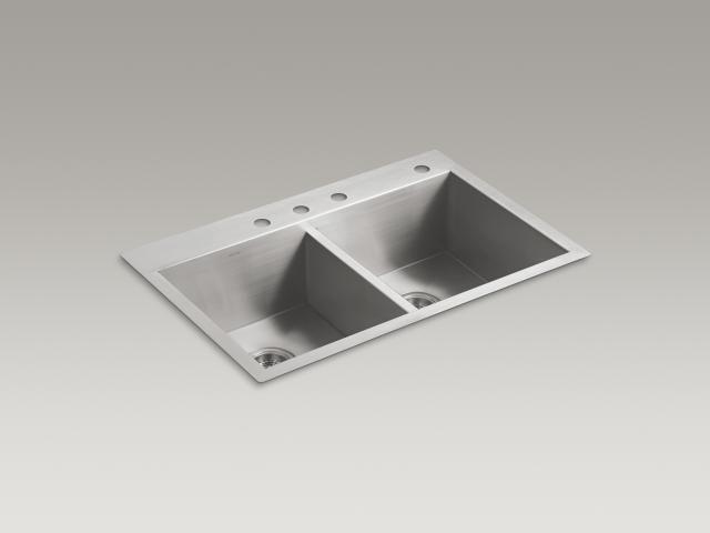 KOHLER América Latina - Fregadero de cocina Vault con pileta doble igual y cuatro perforaciones para grifería
