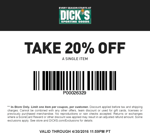 Dicks in store coupon codes