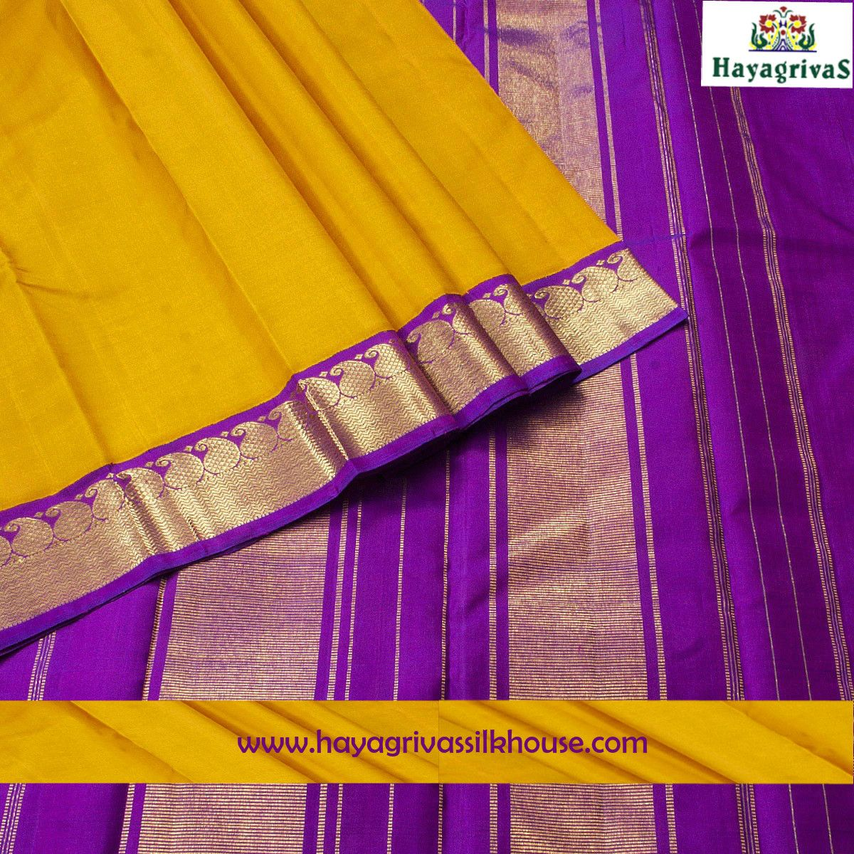 Gorgeous Yellow and Purple combo weaved pure Kanjivaram from Hayagrivassilkhouse. The silk saree has yellow color on the body and purple color on the pallu along with beautiful zari mango motifs on the border. #Silksarees #Kanjivaramsilks #Weddingsilks #Traditionalsilks Go for this Kanjivaram : https://www.hayagrivassilkhouse.com/saris/2776-2290.html Call us: 91 9840582892