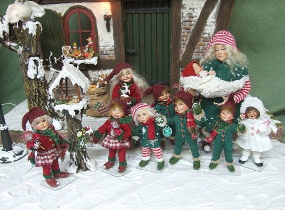 Winter Pixie boy no.1 orig OOAK 1/12th miniature doll by xmasliesl