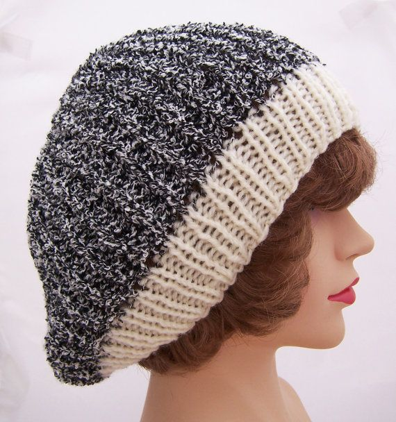 fc7d2af3f98be Handknitted Women Beret Black and White Beret Beanie by evefashion ...