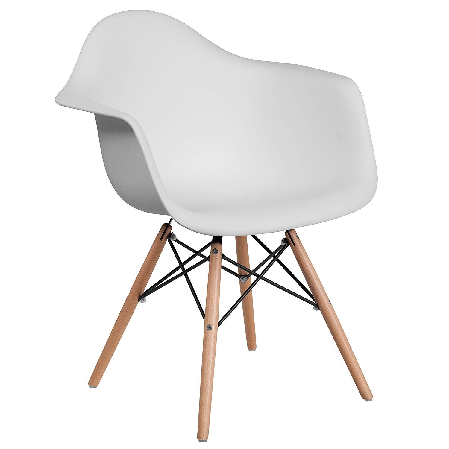 Flash Furniture Alonza Series White Plastic Chair With Wood Base In 2020 Plastic Dining Chairs White Side Chair White Plastic Chairs