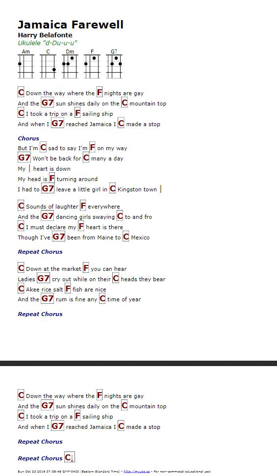Lyric shenandoah lyrics : Jamaica Farewell (Harry Belafonte) - http://myuke.ca | Ukulele ...