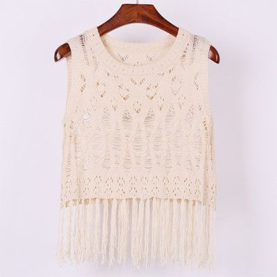 Crop Tops Women New Fashion Knit Sexy Top Sleeveless Shirt Fringed Short Tank Top Women N056