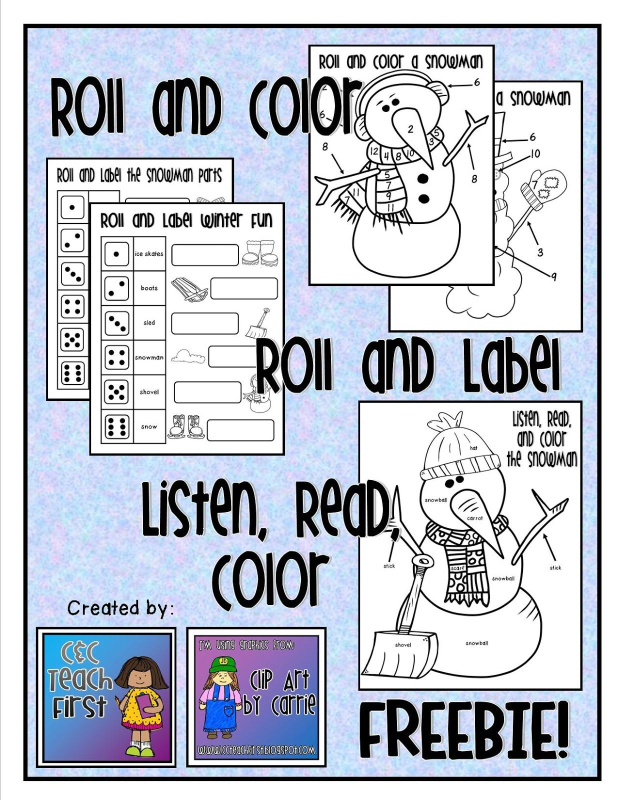 Roll Color Label And Read The Snowman Freebie By C Amp C Teach First