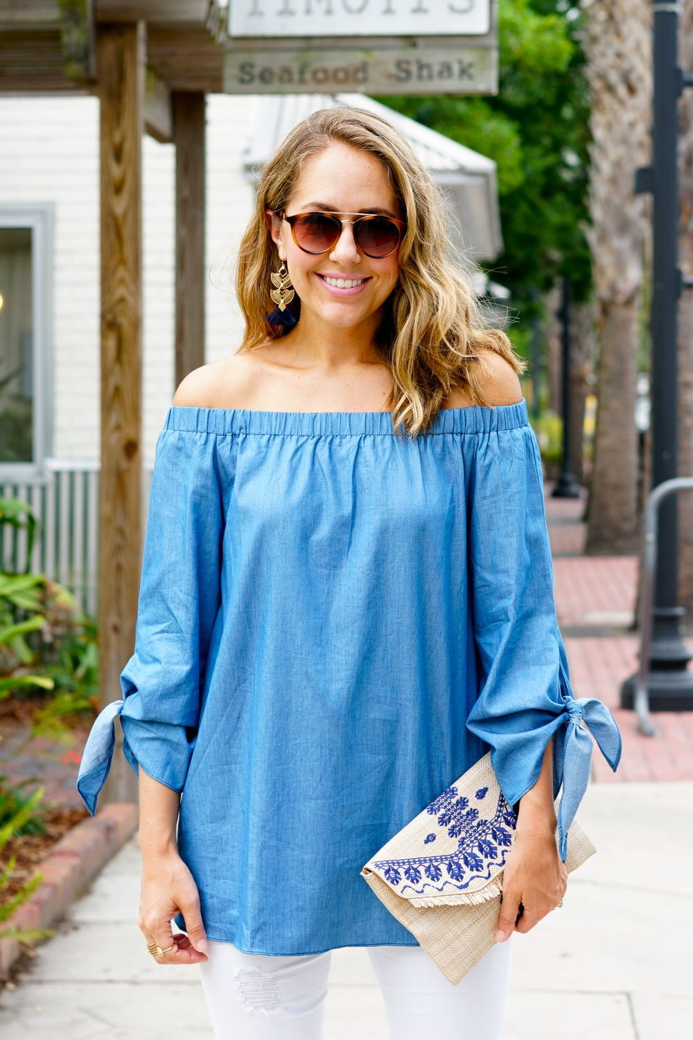 39145f0bed4f5d Chambray off shoulder tie sleeve shirt | Stitch Fix Style Board ...