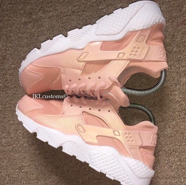 2cb15d6ce0de ROSE GOLD PEARL Nike huaraches.  jklcustoms  rosegold  rosegoldhuarache   pearl  pearlescent  pearlrosegold  huaraches  art  design  customized   sneakers