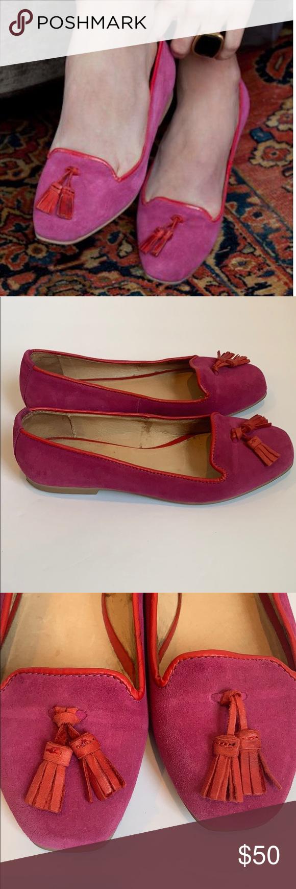 Emerson Fry Loafer Fuschia Adorable Emerson Fry loafer in fuchsia with red peeping and tassels. Great for all day wear. Markings on inside as shown. Outside of shoe is excellent condition, small mark on left back.  Size 39. Emerson Fry Shoes Flats & Loafers #emersonfry Emerson Fry Loafer Fuschia Adorable Emerson Fry loafer in fuchsia with red peeping and tassels. Great for all day wear. Markings on inside as shown. Outside of shoe is excellent condition, small mark on left back.  Size 39. Emerso #emersonfry