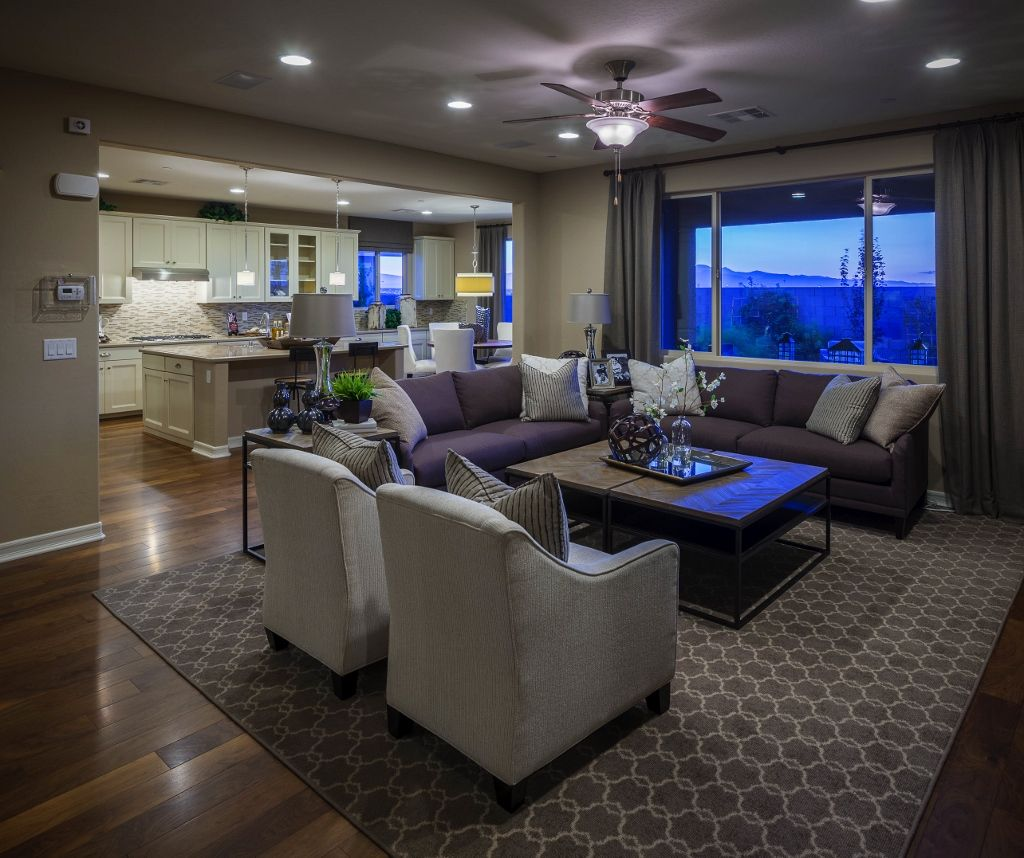 American kitchen and living room design - The Living Room And Kitchen In The Dominic Model By Richmond American Homes In Cadence