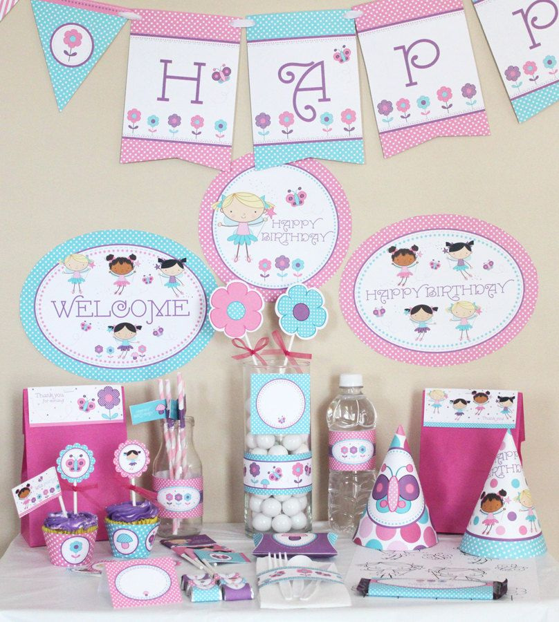 Fairy Birthday Party Decorations Printable Butterfly birthday