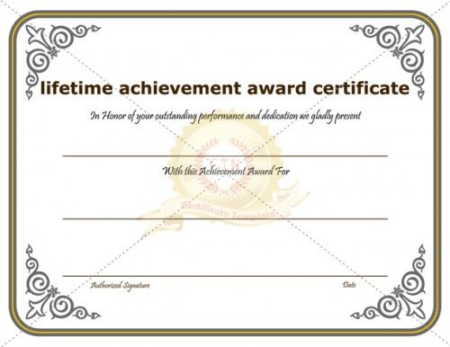 achievement certificate template word