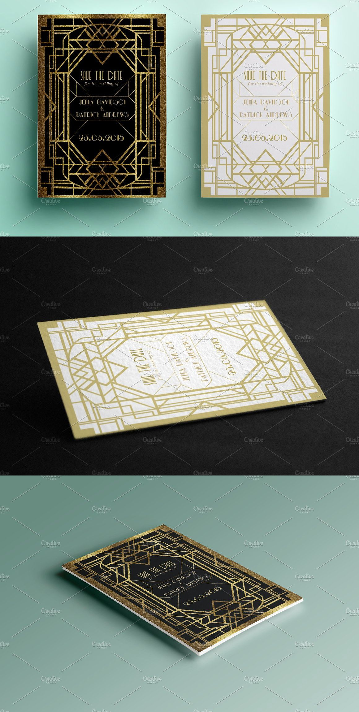 art deco save the date art deco template and fonts