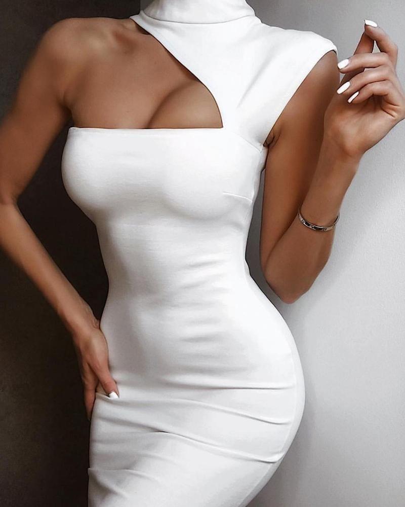 One Shoulder Cutout Bodycon Dress In 2021 Bodycon Dress Parties Bodycon Dress Body Con Dress Outfit [ 1000 x 800 Pixel ]