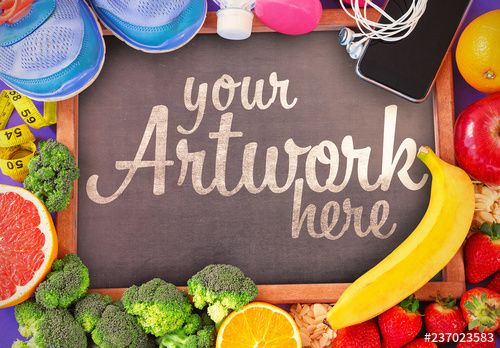 Chalkboard with Produce and Workout Accessories Mockup