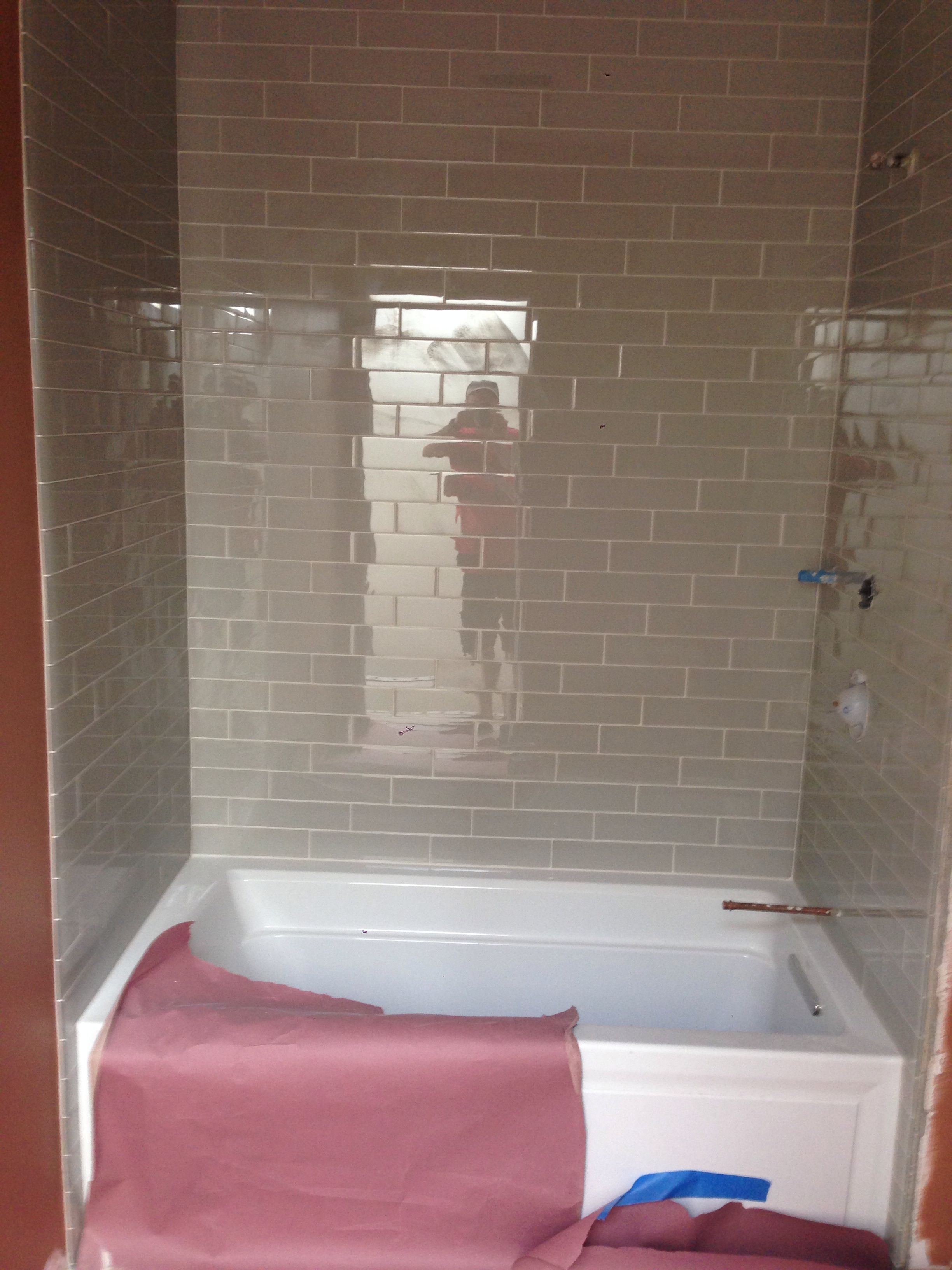 3rd floor bath room glass tile, air bubble tub | Charlestown House ...