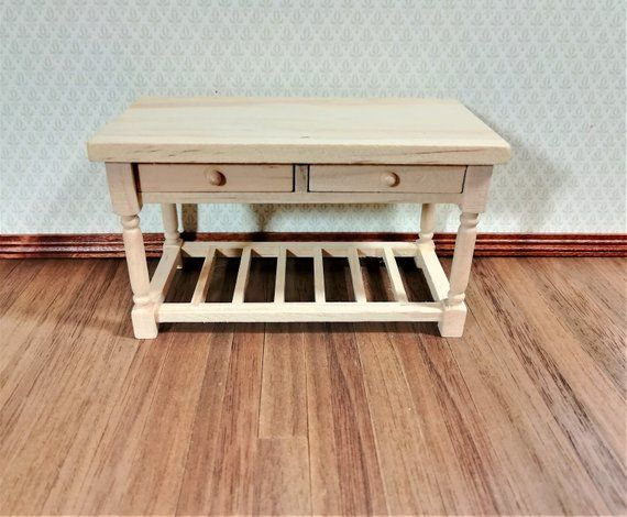Dollhouse Miniature Unfinished Large Kitchen Island Prep Table 1:12 Scale