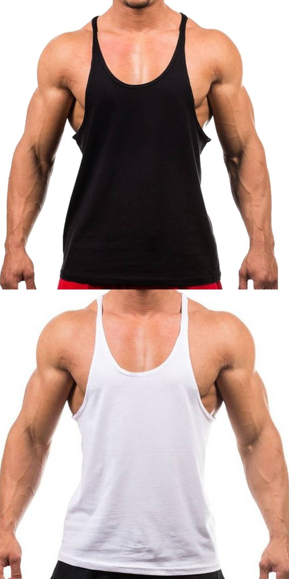 9194e60d1e302 2017 New Men Tank Top Cotton Sleeveless Bodybuilding Tank Tops Fitness Top  Black White Solid Color Men Shirt M-XXL Cheap