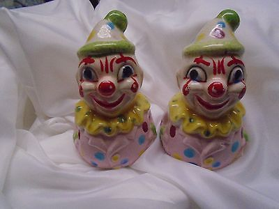 Vintage clown salt and pepper shakers set